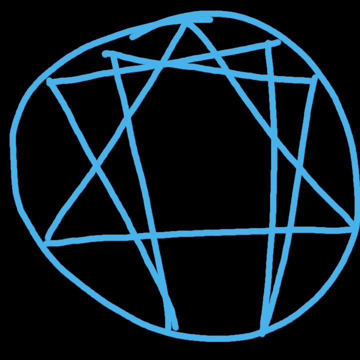 hand drawn enneagram symbol looks like witchcraft